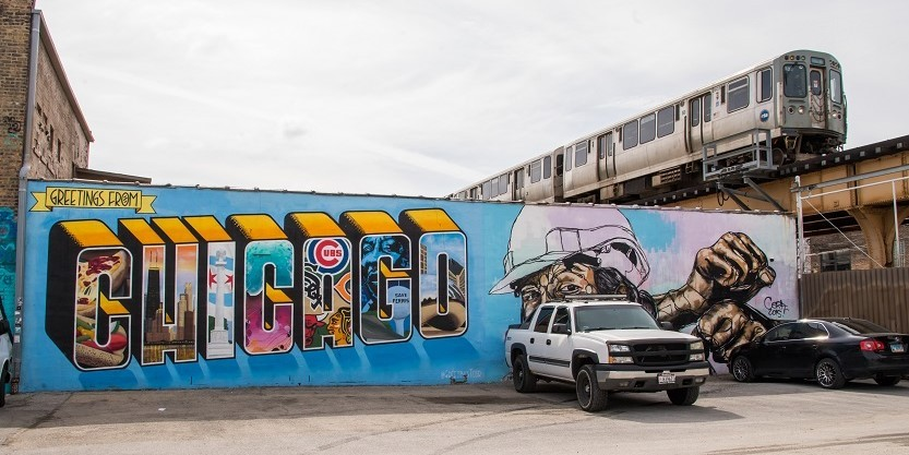 an artist mural in Chicago's Logan Square neighborhood